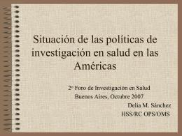 Situación de las políticas de investigación en salud en las Américas