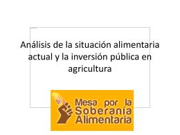 Análisis de la situación alimentaria actual y la inversión