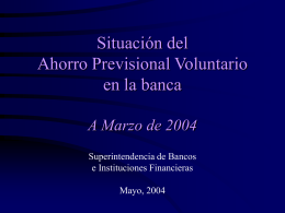 Situación del Ahorro Previsional Voluntario en la Banca