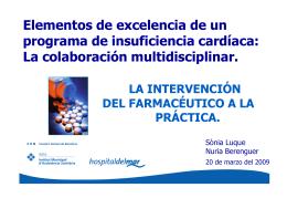 La intervención del farmacéutico a la práctica. Sra. Nuria Berenguer