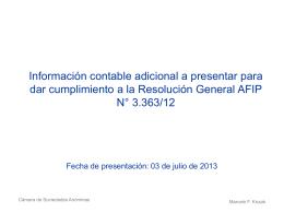 Información contable adicional a presentar para dar cumplimiento a