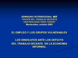 CIOSL-ORIT ACTRAV - OIT Grupo Técnico de Trabajo Escenarios