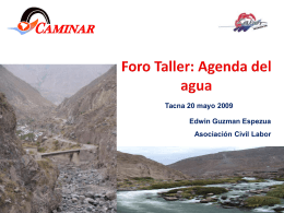 Agenda del agua - Grupo de Diálogo, Minería y Desarrollo Sostenible