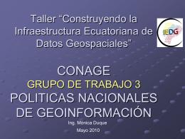 grupo de trabajo 3 politicas de información geospacial