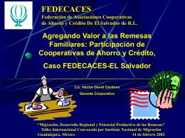 Agregando Valor a las Remesas Familiares: Participación