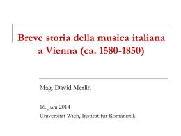 Breve storia della musica italiana a Vienna (ca