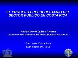 El proceso presupuestario del sector público en Costa Rica
