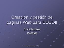 Creación y gestión de páginas Web para EEOOII