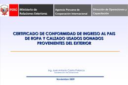 Certificado de conformidad de Ingreso al País de ropa y