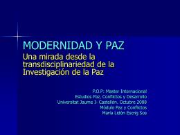 MODERNIDAD Y PAZ