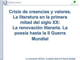 Tema 1. La renovación literaria. La poesía hasta la II