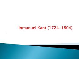 Inmanuel Kant (1724-1804)