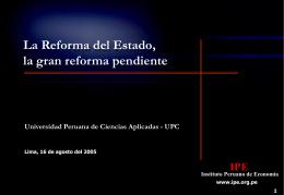Reforma del Estado - Instituto Peruano de Economía