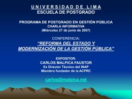 Reforma de Estado y Modernización de la Gestión Pública C. Malpica