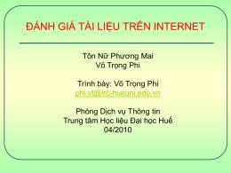 Đánh giá thông tin trên mạng