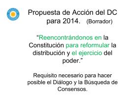 """Propuesta de Acción del DC para 2014. """"Volver a la Constitución en"""