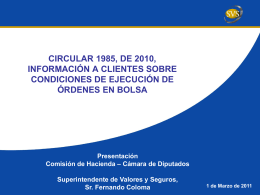 CIRCULAR N° 1985, DE 2010, INFORMACIÓN A CLIENTES