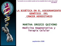 la bioética en el asesoramiento genético del cáncer hereditario
