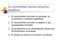 La racionalidad técnica (empírico