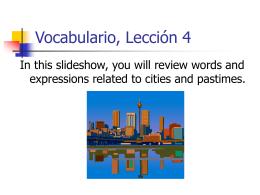 Vocabulario, Lección 5