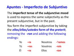 Apuntes - Imperfecto de Subjuntivo