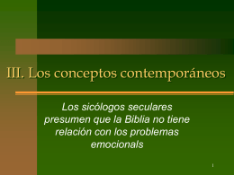 3 Los conceptos contemporáreos seculares