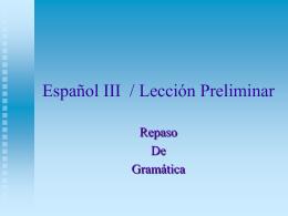 Español III / Lección Preliminar