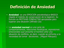Definicion de Ansiedad