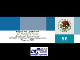 La Mejora Regulatoria en los Programas Sociales (Reglas de