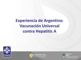 Hepatitis A : experiencia de Argentina en vacunación universal