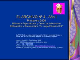 EL ARCHIVO Nº 4 Primavera 2006