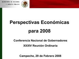 Perspectivas Económicas para 2008