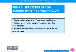 Tema 3. Servicios de los ecosistemas y su valoración