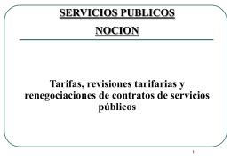 SERVICIO PUBLICO Revision tarifaria, RENEGOCIACION DE LOS