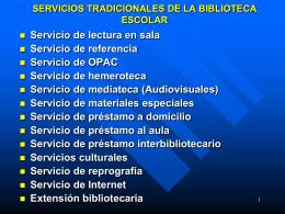 Servicios Biblioteca Escolar