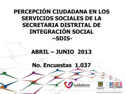 Abril - Junio 2013 - Secretaria Distrital de Integración Social
