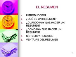 CLASE 25. EL RESUMEN