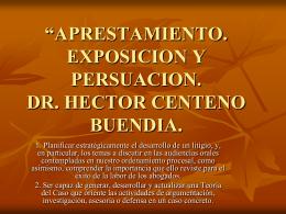 """""""Exposición, Persuasión y Destrezas de litigación Oral"""". CASO"""