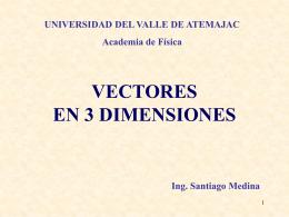 Presentaciòn de vectores en tres dimensiones