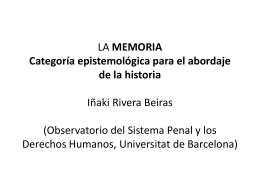 LA MEMORIA Categoría epistemológica para el