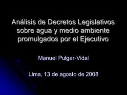 Análisis de Decretos Legislativos sobre agua y medio ambiente