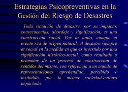 Estrategias Psicopreventivas en la Gestión del Riesgo de Desastres
