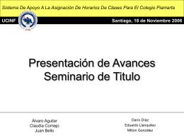 Presentación de Avances Seminario de Titulo