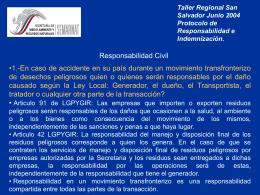 Taller Regional San Salvador Junio 2004 Protocolo de