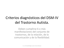 Criterios diagnósticos del DSM-IV del Trastorno Autista.