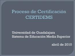 Proceso de Certificación CERTIDEMS