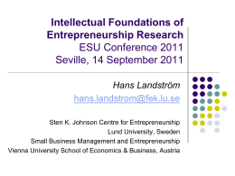 Intellectual Foundations of Entrepreneurship Research