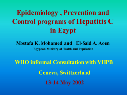 Epidemiology, prevention, and control programmes of hepatitis C in