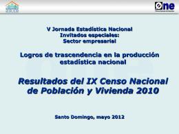 Población, según provincia - Oficina Nacional de Estadística (ONE)