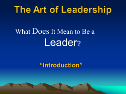 What does it mean to be a leader?